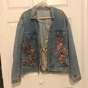 LF butterfly Embroidered oversized jacke